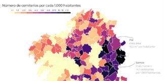 Número de cemiterios por 1.000 habitantes nos concellos de Galicia. Fonte: Dominic Royé.