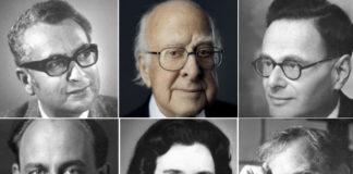De esquerda a dereita e de arriba cara a abaixo: Murray Gell-Mann, Peter Higgs, Hans Krebs, Enrico Fermi, Rosalyn Yalow e Kary Mullis. Fonte: Nobel Prize.