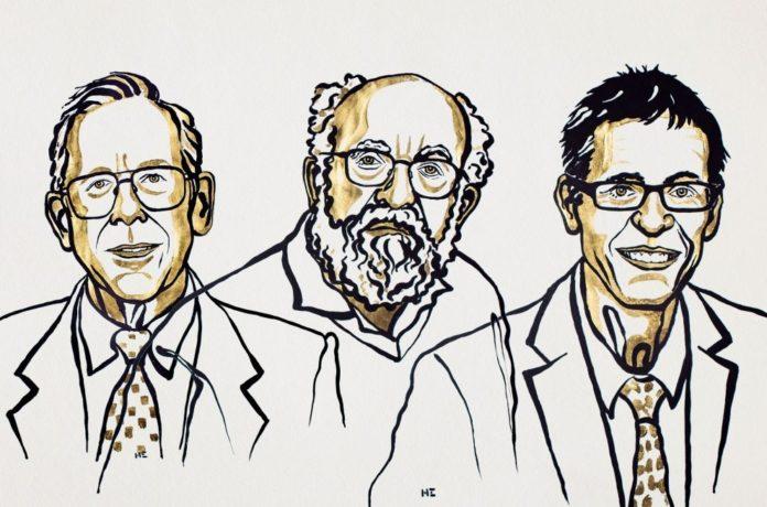 James Peebles, Michel Mayor e Didier Queloz. Ilustración de Niklas Elmedhed. © Nobel Media.