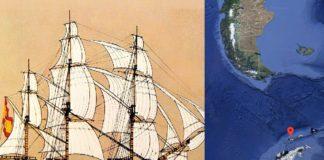 Reconstrución do San Telmo, e ubicación da illa Telmo no arquipélago das Shetland do Sur, na Antártida.