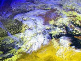 A borrasca Cecilia, na imaxe de satélite desta mañá sobre o oeste de Europa. Fonte: MeteoGalicia.