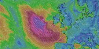 A borrasca provocará ondas de máis de oito metros entre Ribadeo e Corrubedo. Previsión da situación da borrasca o mércores pola tarde (fonte: windy.com).