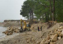 A obra de urxencia constará nun dique de 70 metros para frear a erosión nesta zona do esteiro do Miño en Camposancos. Foto: SGHN.