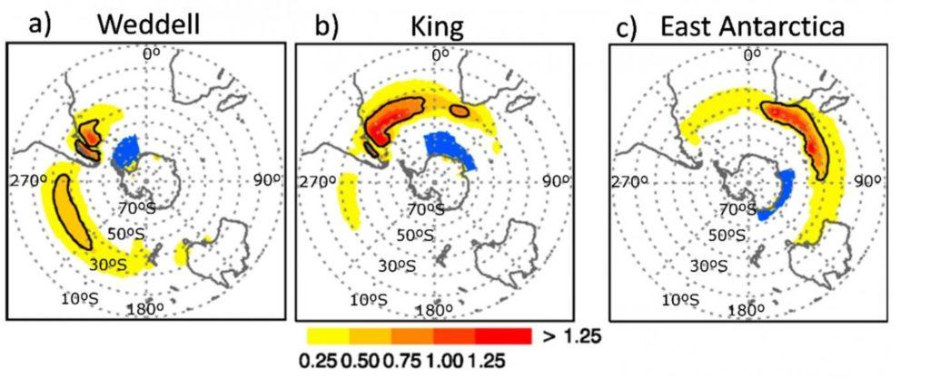 Unha das gráficas de climatoloxía nos diferentes mares da zona austral recollidas no estudo. Fonte: Atmosphere.