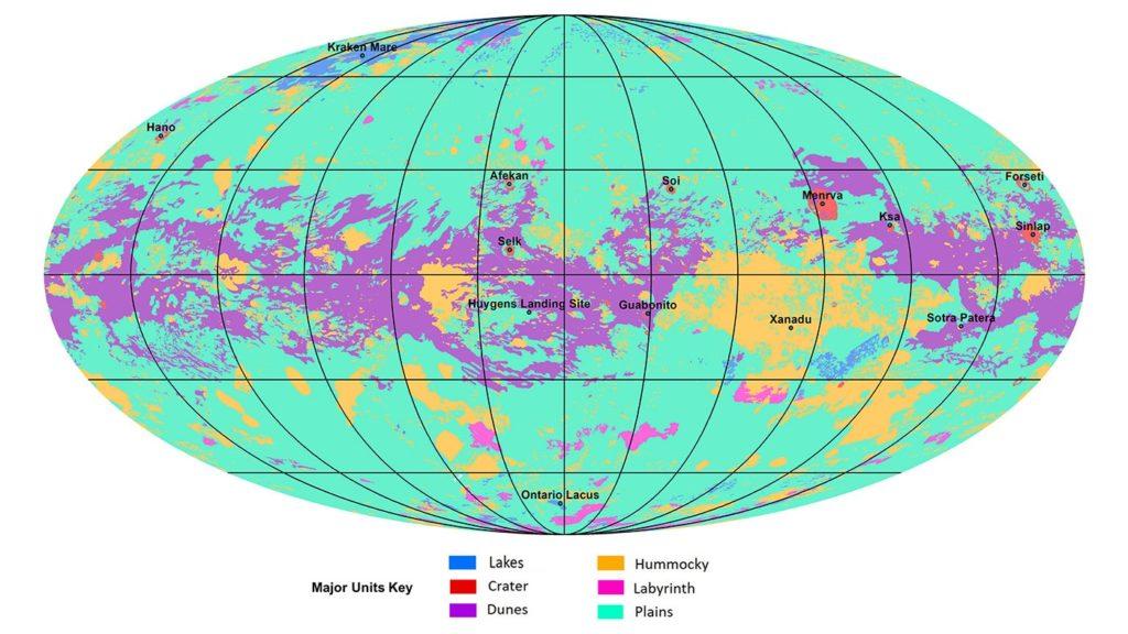 O mapa recolle seis unidades xeolóxicas principais. Fonte: NASA.