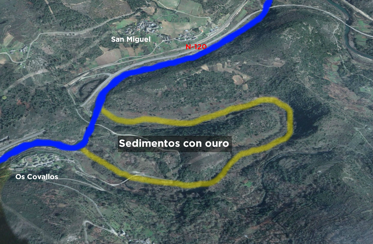 A construción do túnel de Montefurado permitiu secar o meandro natural do Sil e peneirar os sedimentos para recoller ouro. Fonte: Google Maps/Elaboración propia.