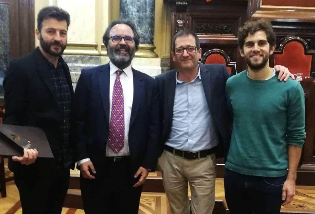 Pablo López, Eduardo Rolland e Manuel Rey, de GCiencia, xunto a Lluis Montoliu, presidente do xurado dos Prismas 2019.