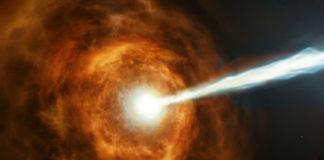Concepción artística de una explosión de rayos gamma. Fonte: ESA/ Hubble. M. Kornmesser.