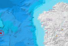 Lugar do epicentro do terremoto, na zona do Banco de Galicia. Fonte: IGN.