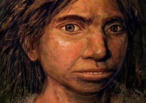 Reconstrución dunha moza denisovana cuxos restos foron atopados en Siberia. A obra é de Maayan Harel.