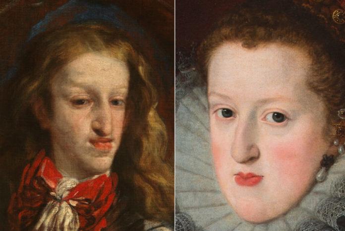 Carlos II (retrato de Luca Giordano) e Margarita de Austria (obra de Juan Pantoja de la Cruz) son dous dos reis da dinastía dos Austrias nos que se estudou a influencia da endogamia no seu rostro. Imaxes: Museo del Prado.