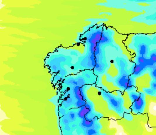 Está activado o aviso de nivel laranxa no interior de Pontevedra polos acumulados de chuvias. Fonte: MeteoGalicia.