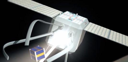 Representación do funcionamento de Clear Space, para capturar lixo espacial. Fonte: ESA.