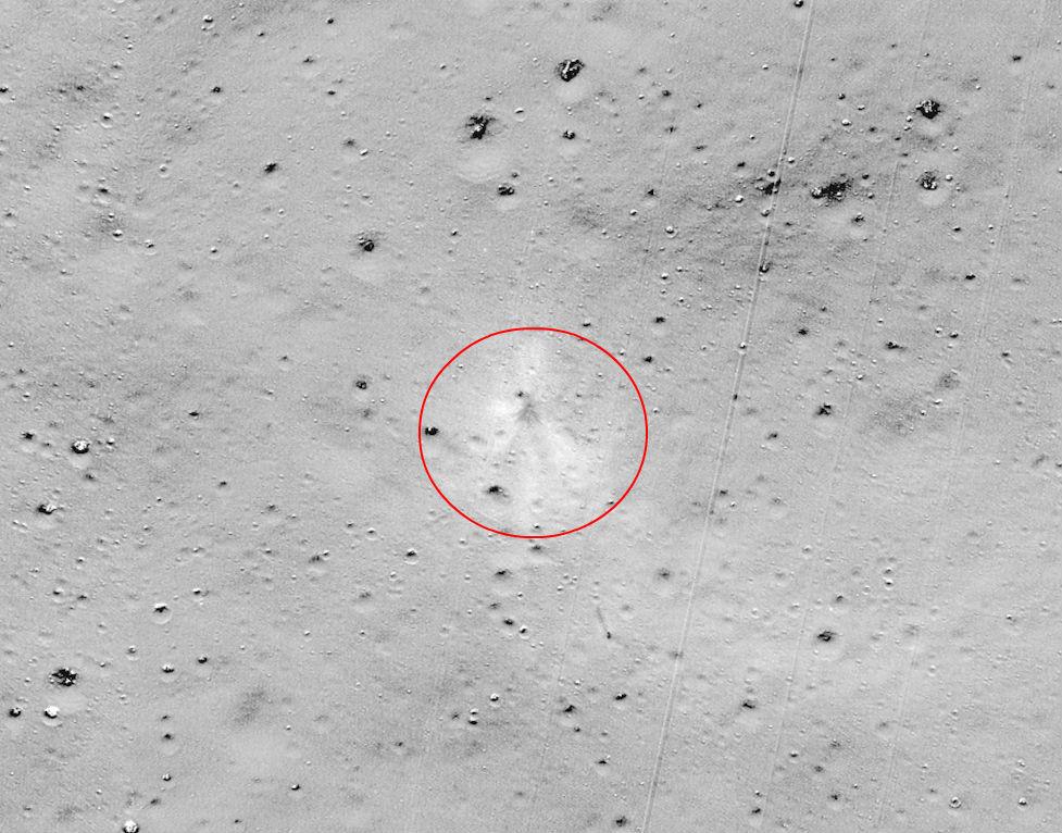 Lugar do impacto da sonda Vikram na Lúa. Fonte: NASA/Goddard/Arizona State University.
