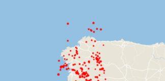 Os terremotos rexistrados en Galicia en 2019. Fonte: IGN/Elaboración propia.