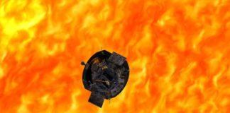 Recreación do achegamento da sonda Parker á coroa do Sol.