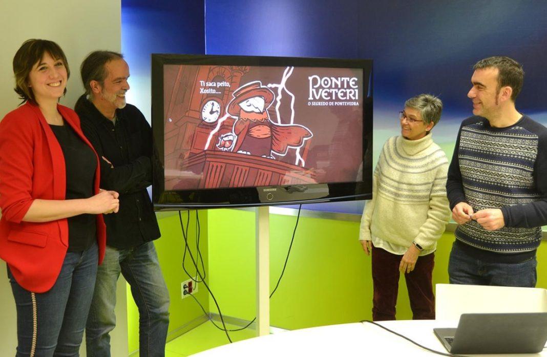 Olaia Ferrando, Antonio Pena, Beatriz Legerén e Xaquín Moreda presentaron 'Ponte Veteri'. Fonte: Duvi.