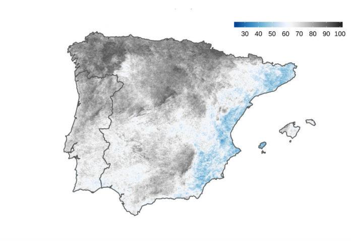 Mapa coa fracción media de nubosidade en novembro de 2019, segundo os rexistros do satélite MODIS. Elaborado por Dominic Royé.