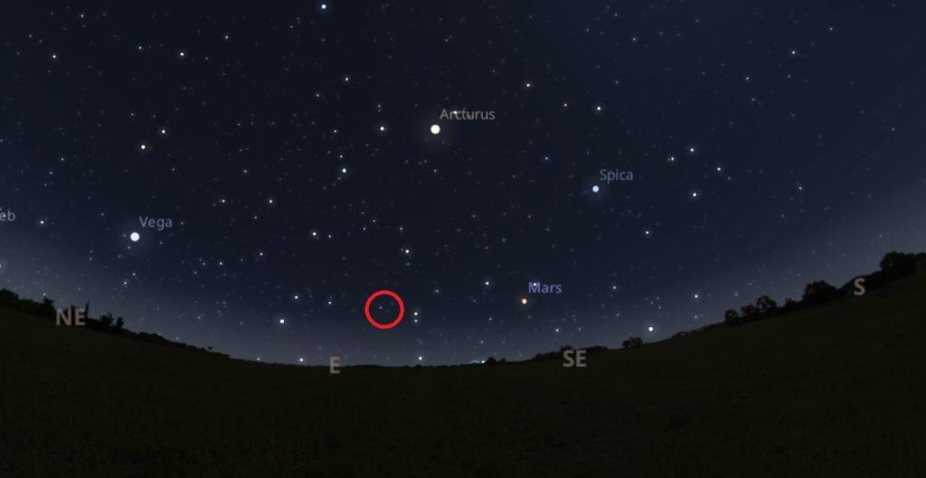 Situación aproximada da estrela de Rosalía na mañá do 18 de decembro, sobre as 7 da mañá. Fonte: Stellarium.