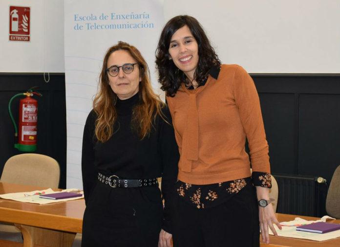 A vicerreitora da UVigo María Isabel Doval e a profesora da Universidade de Minho Joana Almeida. Foto: Duvi.