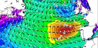 Modelo de ondas para o sábado no Atlántico, que levou á Aemet a activar o aviso vermello. Fonte: MeteoGalicia.