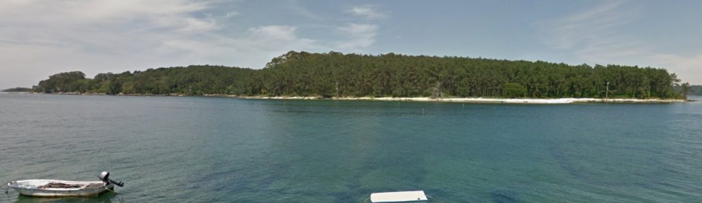 Vista de Cortegada desde o paseo de Carril. Foto: Google Street View.