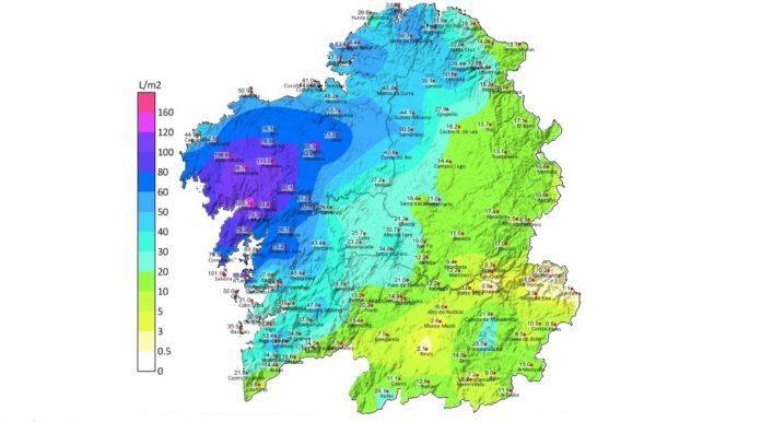 Mapa de precipitacións do xoves 16. Fonte: MeteoGalicia.