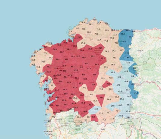 Mapa do índice de semellanza de cada dialecto coa variedade estándar. Fonte: Xulio Sousa / ILG.