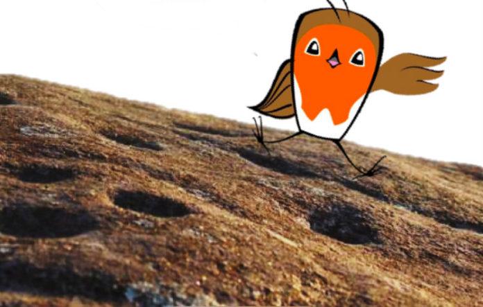 A paparroiba Tchac-Tchac é a guía que aconsella aos lectores na obra sobre a arte rupestre. Fonte: UVigo / Víctor Vázquez.