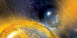 Ilustración da colisión de dúas estrelas de neutróns. Fonte: National Science Foundation/LIGO/Sonoma State University/A. Simonnet.