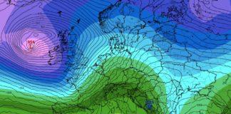 Os modelos de predición apuntan cara á chegada da borrasca Jorge ao noroeste da península ibérica a partir do sábado. Fonte: tropicaltidbits.