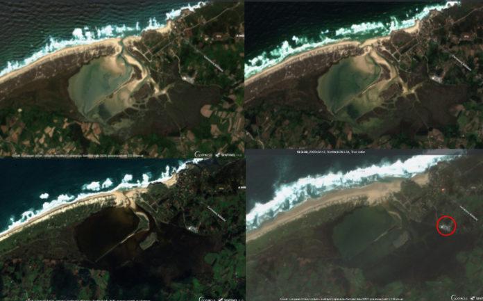 Evolución da lagoa de Baldaio desde xuño de 2018 ata a actualidade. En vermello, situación do cámping e vivendas afectadas polos asolagamentos destes días. Fonte: Sentinel/Elaboración propia.