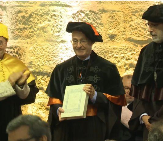 Carracedo, no acto de homenaxe celebrado este luns en Braga. Foto: UMinho.