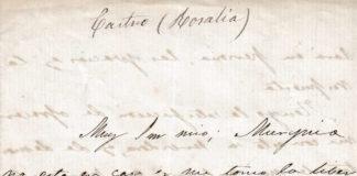 Detalle da carta asinada por Rosalía de Castro. Fonte: Fundación Rosalía.