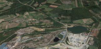"""A Declaración de Impacto Ambiental incide no risco en caso de """"catástrofe"""" para localidades próximas á explotación, como Arinteiro, na parte superior esquerda da imaxe. Fonte: Google Maps."""