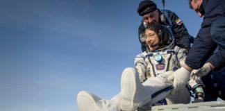 Christina Koch, na súa chegada á Terra. Foto: ISS / Twitter.