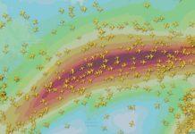 Avións cruzando o Atlántico empurrados pola corrente en chorro formada pola presenza de Ciara. Fonte: Flightradar24.