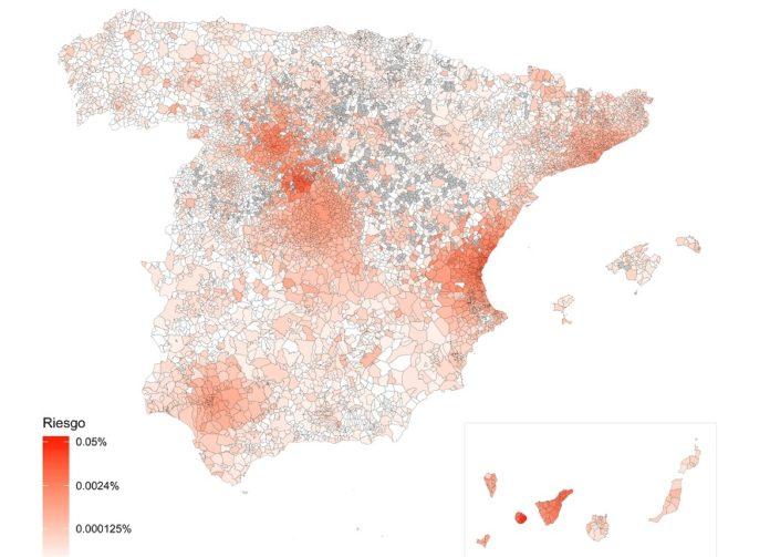 Mapa desenvolvido por investigadores das universidades de Zaragoza e Rovira i Virgili, actualizado na mañá do 28 de febreiro. Fonte: urv.cat.
