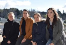 As investigadoras de Future Oceans Lab, Julia Ameneiro, Elena Ojea e Francesca Barazzetta e a docente do Departamento de Dereito Público Laura Movilla. Foto: Duvi.