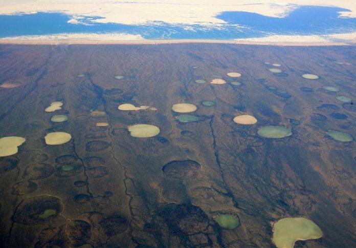 Zonas afectadas pola desconxelación do permafrost en Groenlandia. Foto: Steve Jurvetson / cc-by-2.0.