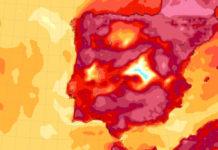 Anomalía de temperatura este domingo 2 de febreiro, no que se rexistraron récords absolutos en Galicia. Fonte: MeteoGalicia.