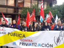 Concentración no campus de Ourense contra a universidade privada proxectada por Abanca. Foto: Duvi.