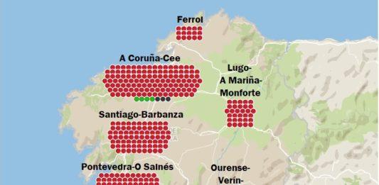 Actualización dos casos confirmados polo Sergas, distribuídos por áreas sanitarias.