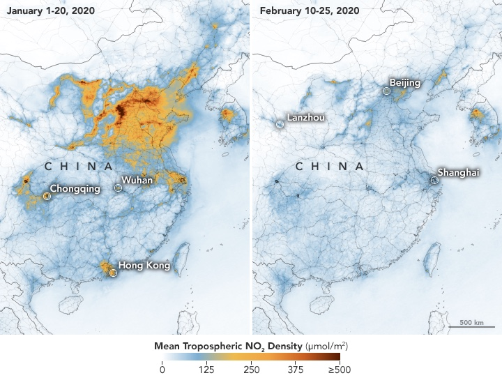 Contaminación na China antes e despois das restricións de transporte. Fonte: Earth Observatory.