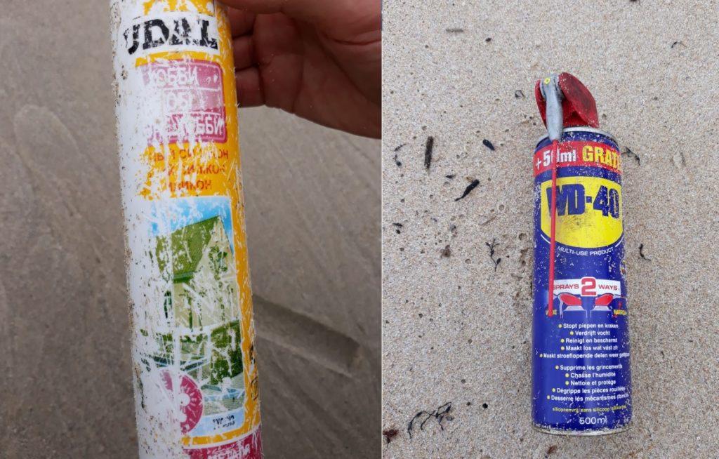 Silicona con etiqueta en alfabeto cirílico e aerosol multiusos fabricado nos Países Baixos.
