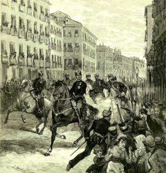 Gravado que recrea o momento do disparo de Joan Oliva (á dereita da imaxe) contra Alfonso XII en outubro de 1878.