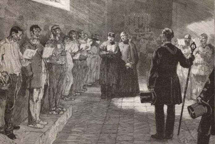 Francisco Otero, entrando en capela o día antes da súa execución.Gravado publicado en L'Illustrazione Italiana.