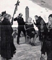 Momento da execución de Joan Oliva no garrote vil, en xaneiro de 1879.