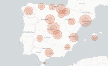 Mapa dos casos novos diarios, activos e acumulados en España. Fonte: CITIC.