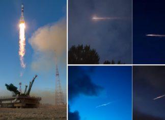 Foguete Soyuz lanzado o pasado sábado desde o cosmódromo de Baikonur, e imaxes captadas esta mañanciña en Galicia.